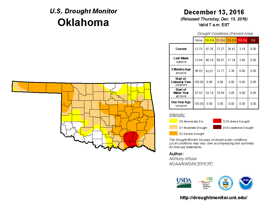 Weather World Oklahoma Is Freeze Dried Cold And Drought - Us weather drought map